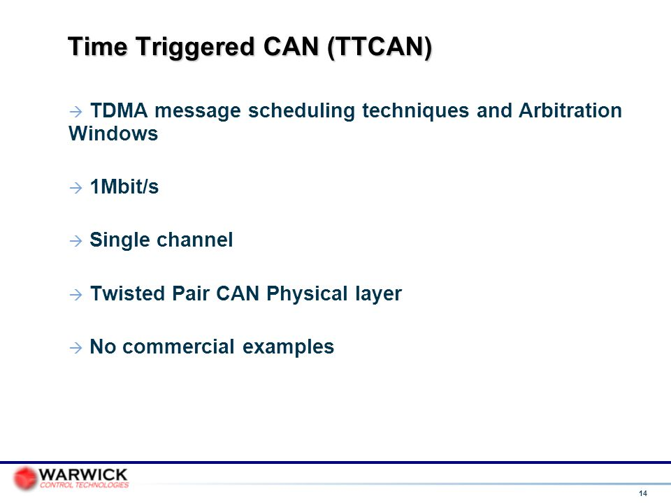 Time Triggered CAN (TTCAN)‏