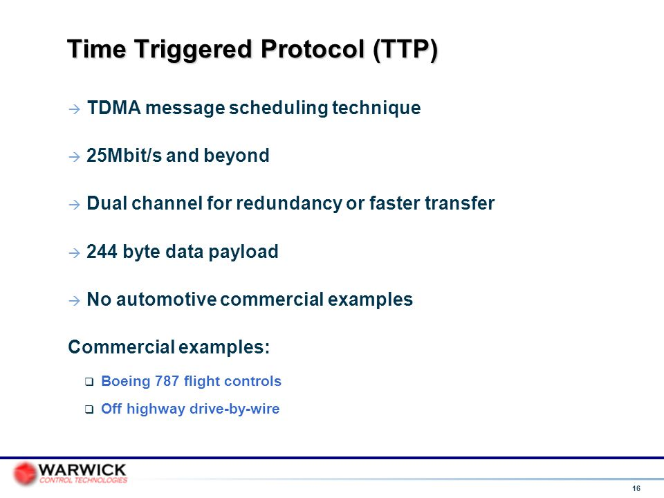 Time Triggered Protocol (TTP)‏