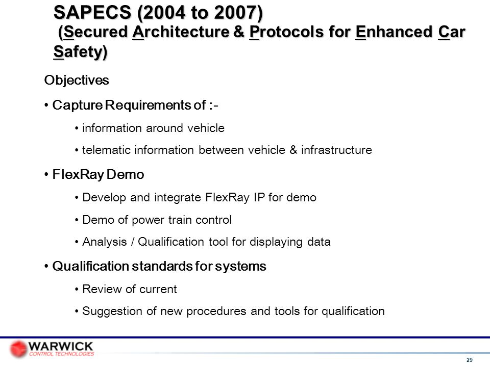 SAPECS (2004 to 2007) (Secured Architecture & Protocols for Enhanced Car Safety)