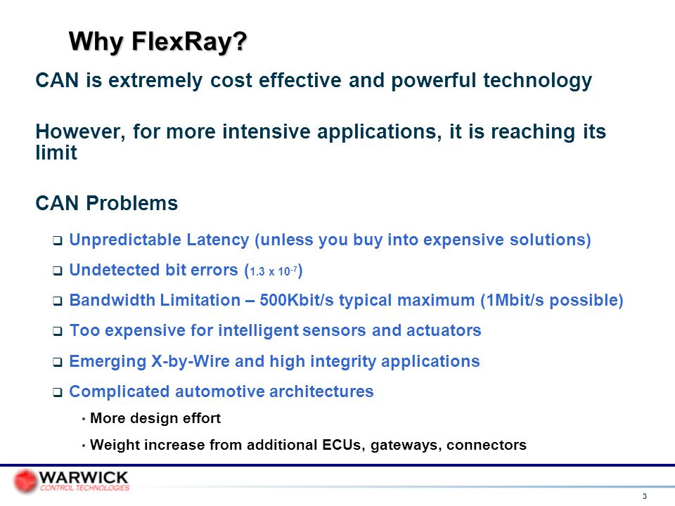 Why FlexRay CAN is extremely cost effective and powerful technology