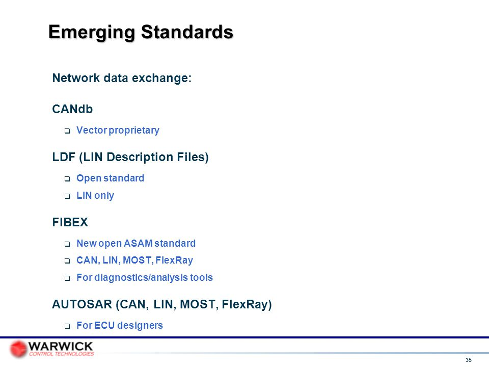 Emerging Standards Network data exchange: CANdb