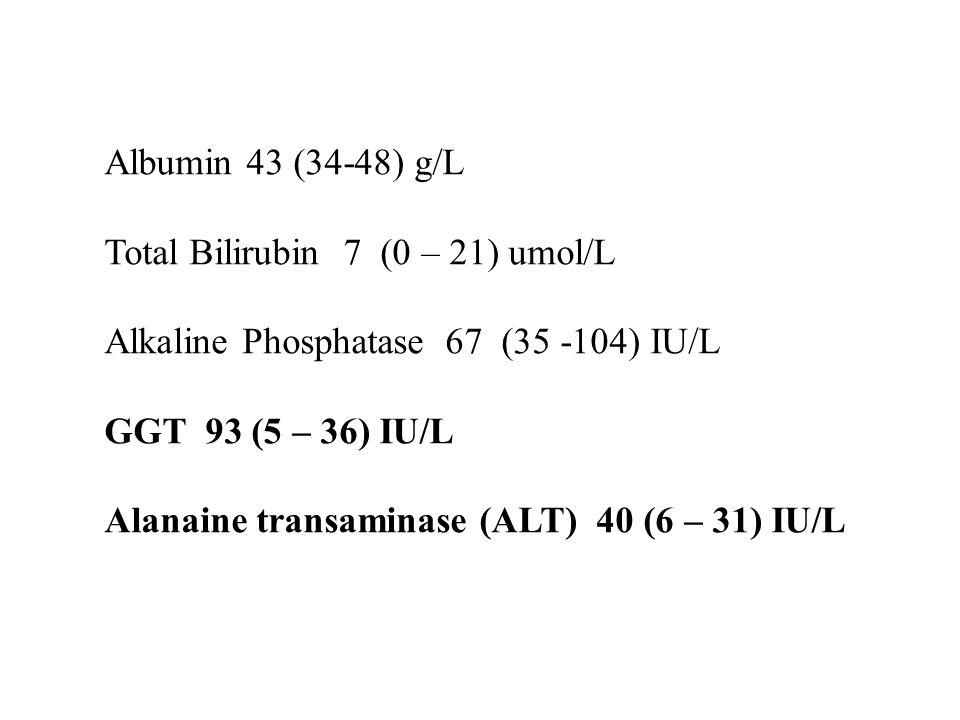 Albumin 43 (34-48) g/L Total Bilirubin 7 (0 – 21) umol/L. Alkaline Phosphatase 67 (35 -104) IU/L.