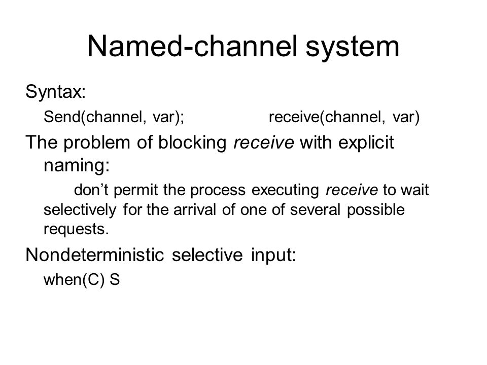 Named-channel system Syntax: