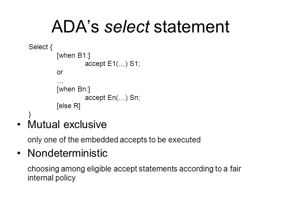 ADA's select statement