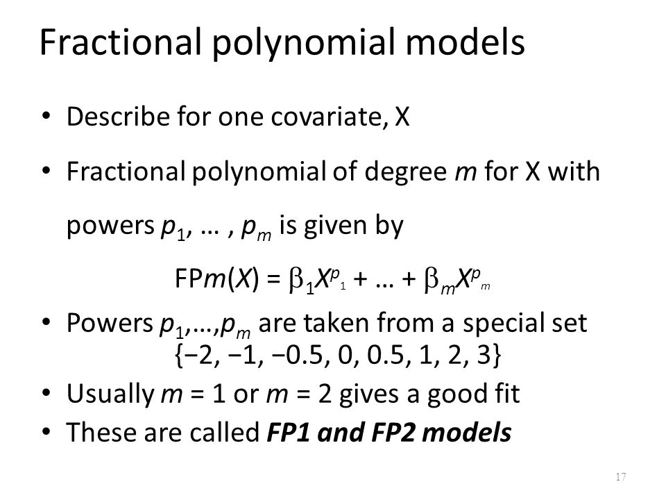 Fractional polynomial models