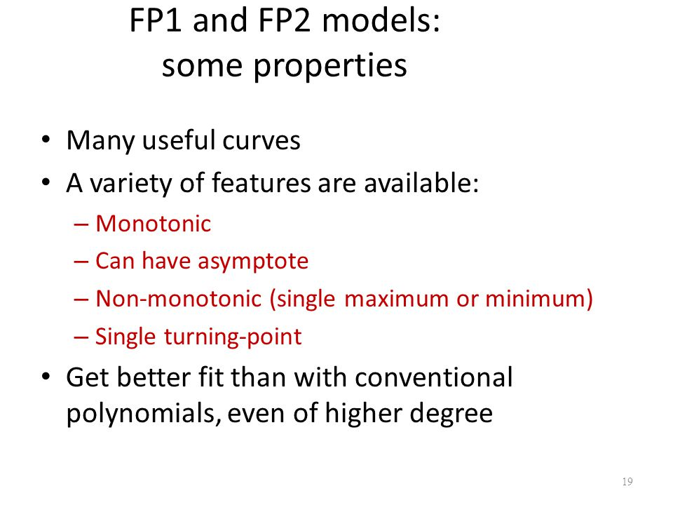 FP1 and FP2 models: some properties