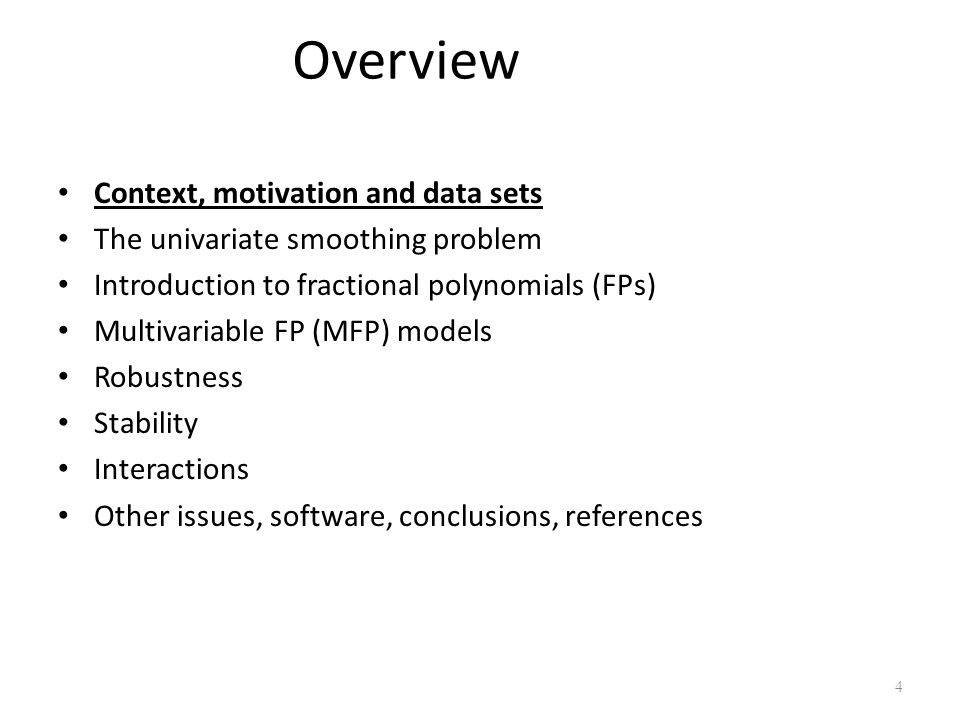 Overview Context, motivation and data sets
