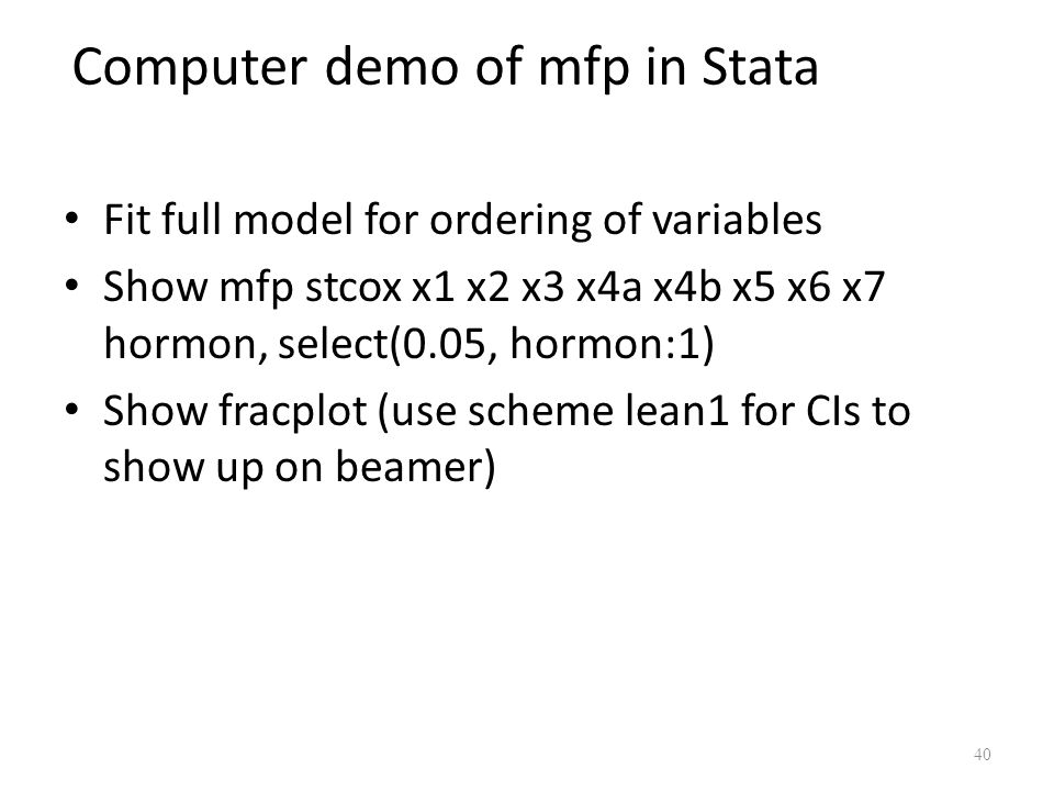 Computer demo of mfp in Stata