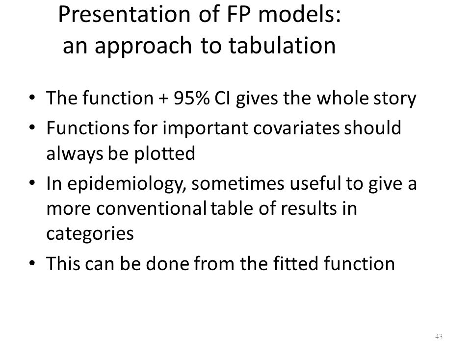 Presentation of FP models: an approach to tabulation