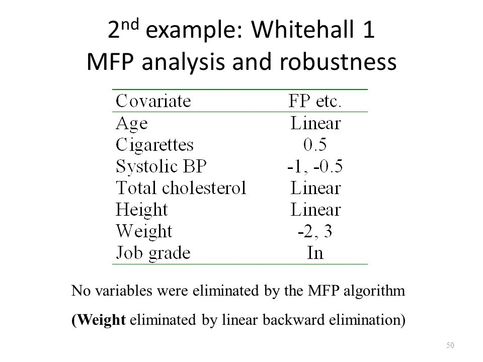 2nd example: Whitehall 1 MFP analysis and robustness