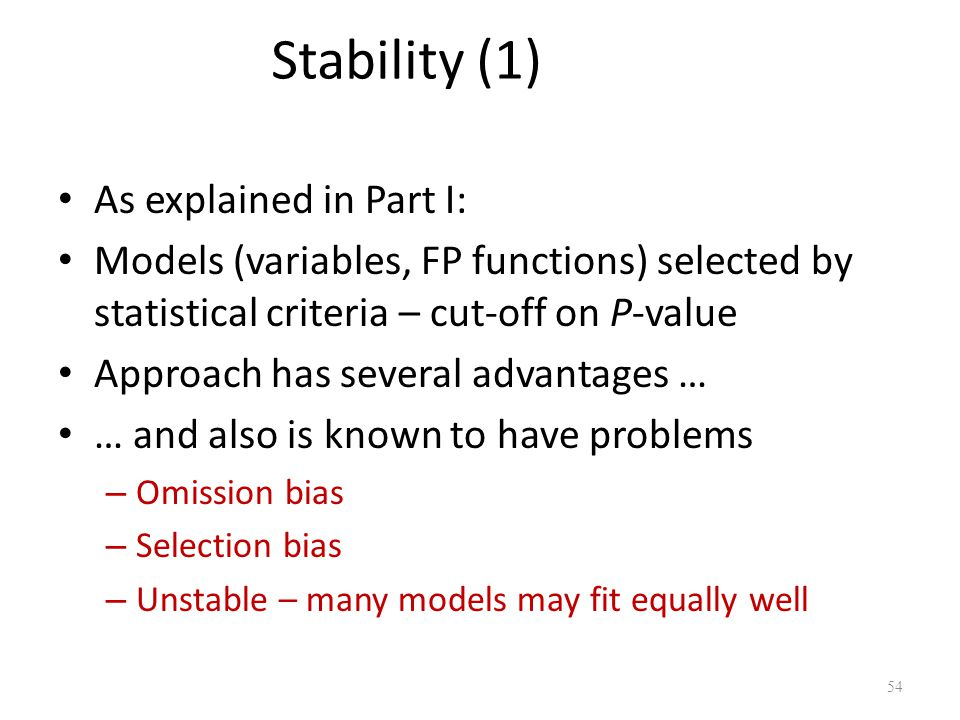 Stability (1) As explained in Part I: