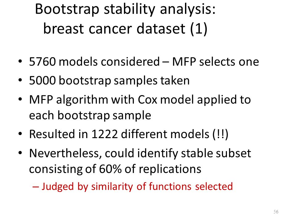 Bootstrap stability analysis: breast cancer dataset (1)