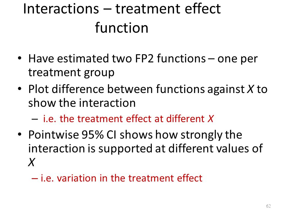 Interactions – treatment effect function