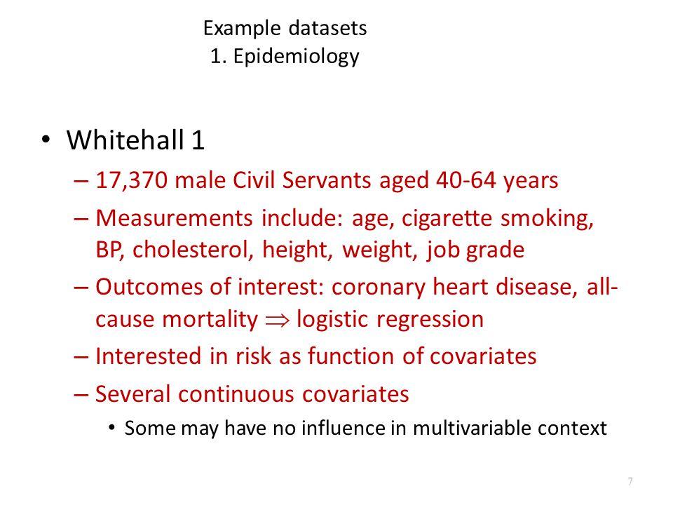 Example datasets 1. Epidemiology