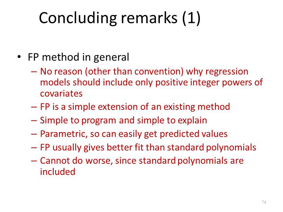 Concluding remarks (1) FP method in general