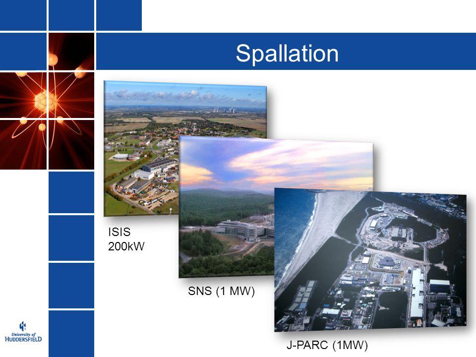 Spallation ISIS 200kW SNS (1 MW) J-PARC (1MW)