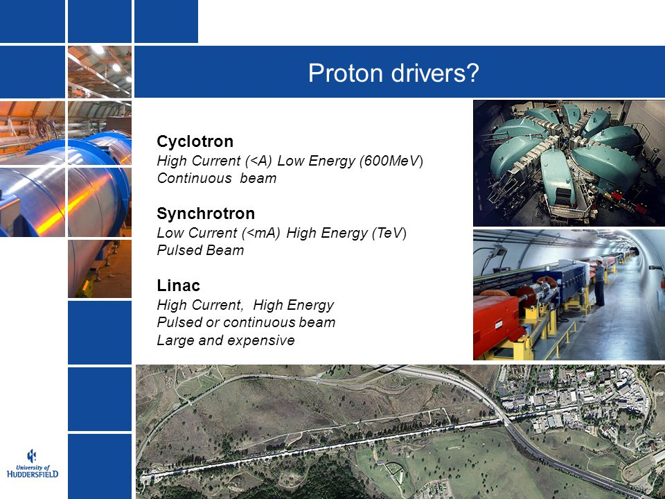 Proton drivers Cyclotron Synchrotron Linac