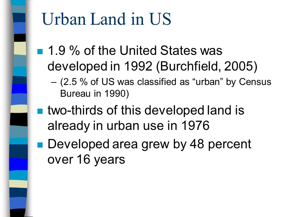 Urban Land in US 1.9 % of the United States was developed in 1992 (Burchfield, 2005)