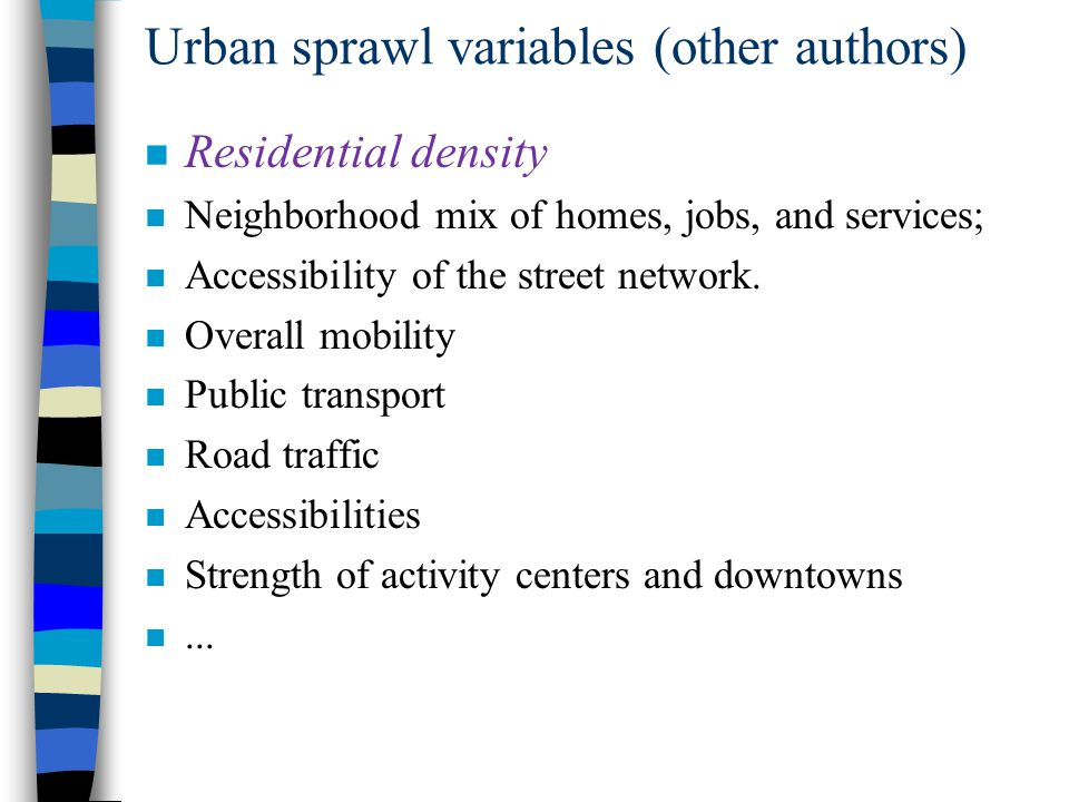 Urban sprawl variables (other authors)