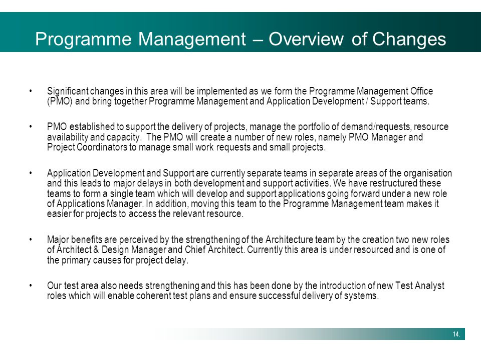 Programme Management – Overview of Changes