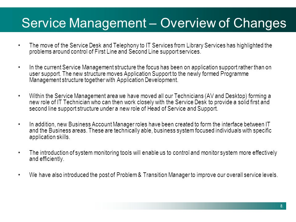 Service Management – Overview of Changes