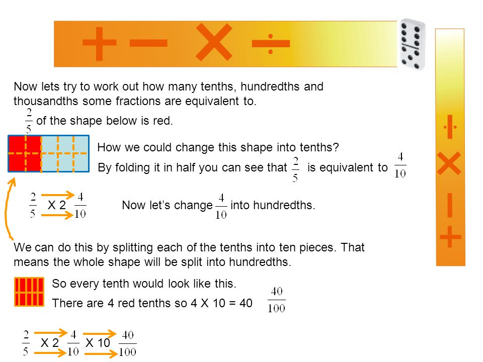 Now lets try to work out how many tenths, hundredths and thousandths some fractions are equivalent to.