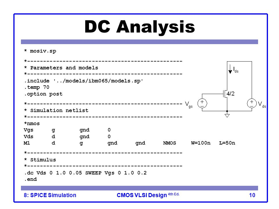 DC Analysis * mosiv.sp. *------------------------------------------------ * Parameters and models.