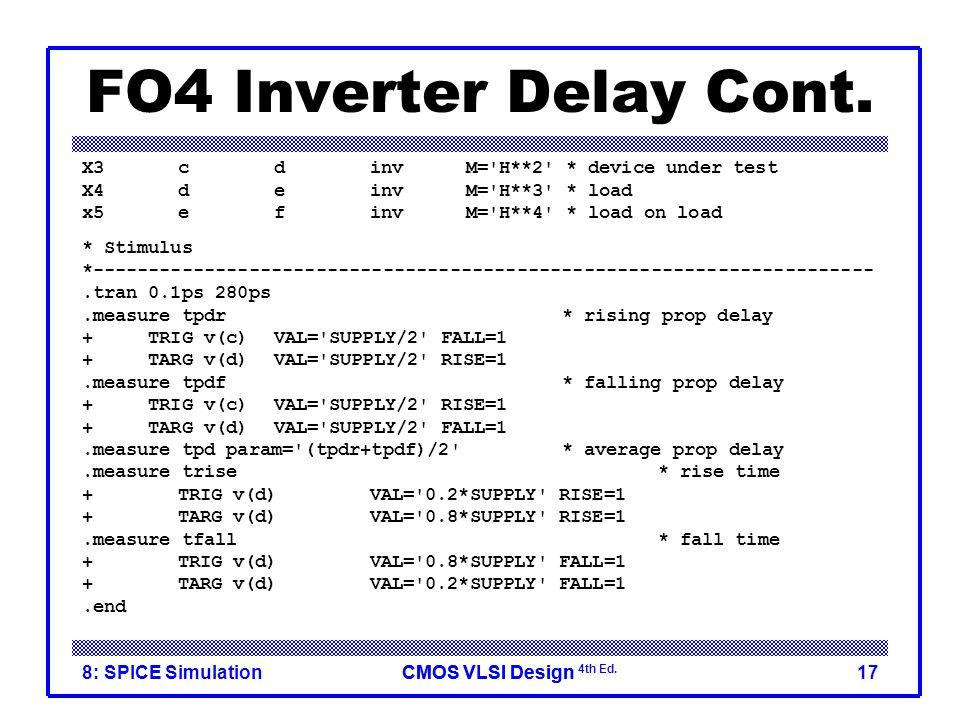 FO4 Inverter Delay Cont. X3 c d inv M= H**2 * device under test