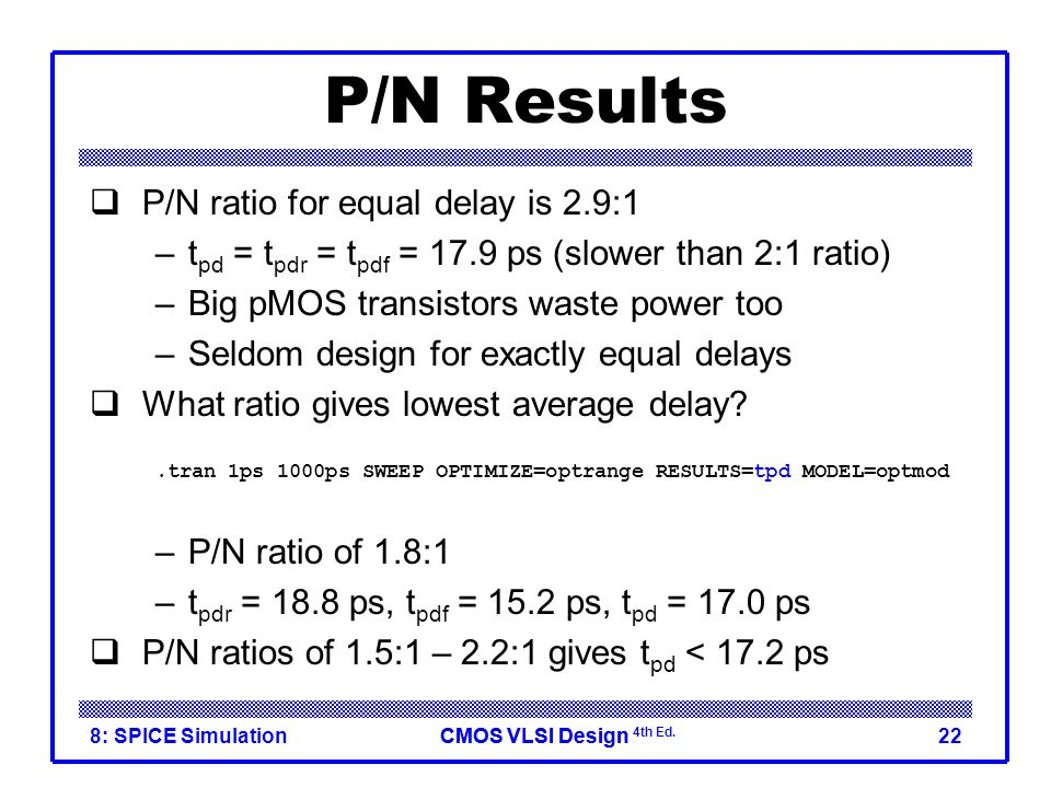 P/N Results P/N ratio for equal delay is 2.9:1