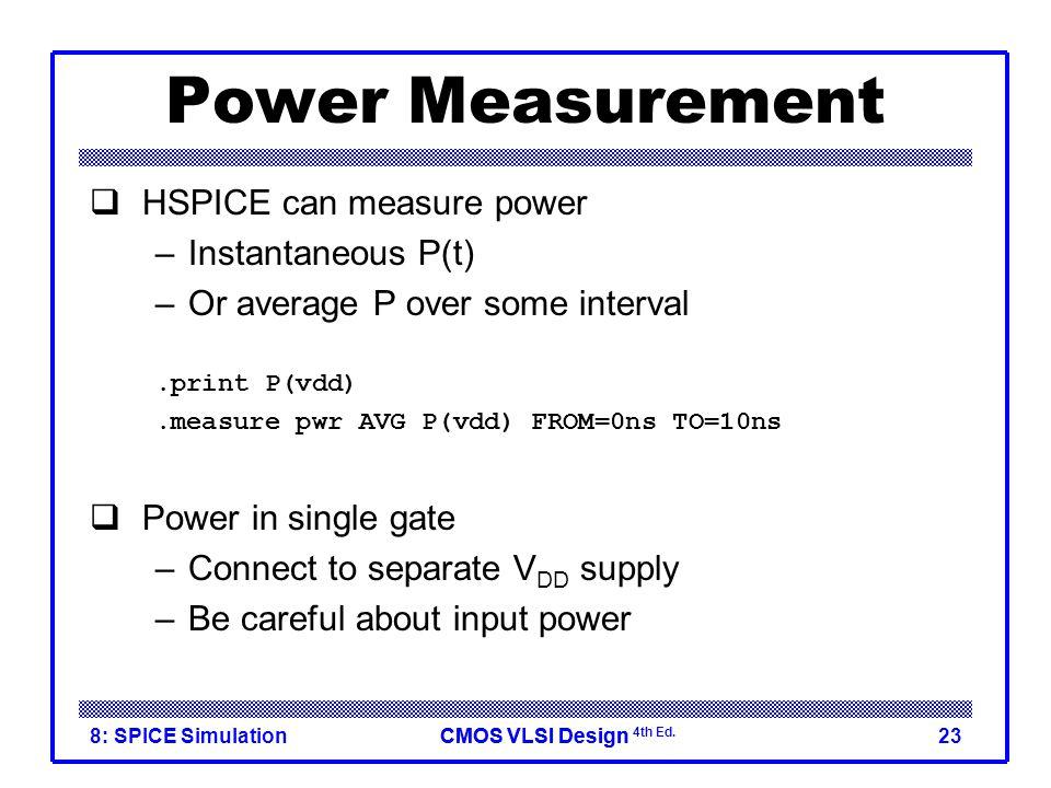 Power Measurement HSPICE can measure power Instantaneous P(t)