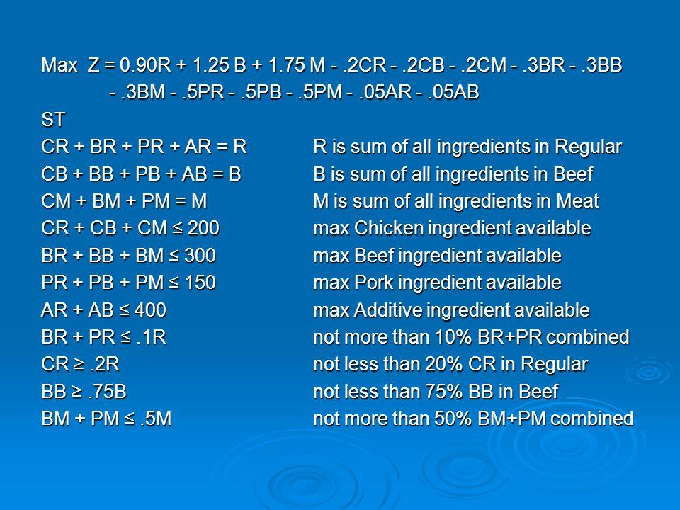 Max Z = 0.90R + 1.25 B + 1.75 M - .2CR - .2CB - .2CM - .3BR - .3BB