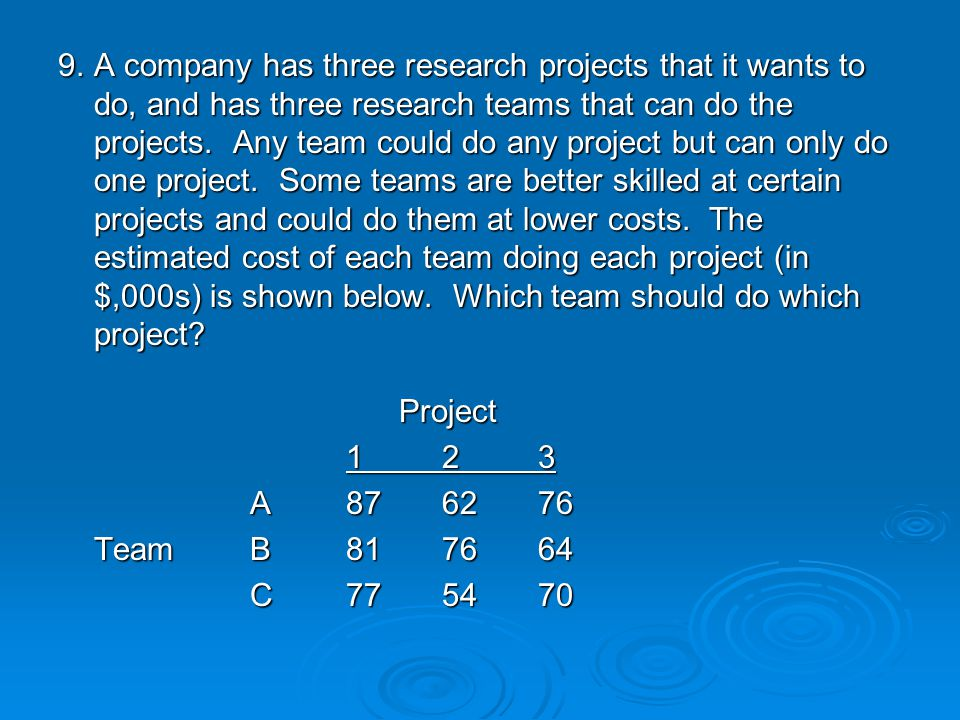 9. A company has three research projects that it wants to do, and has three research teams that can do the projects. Any team could do any project but can only do one project. Some teams are better skilled at certain projects and could do them at lower costs. The estimated cost of each team doing each project (in $,000s) is shown below. Which team should do which project