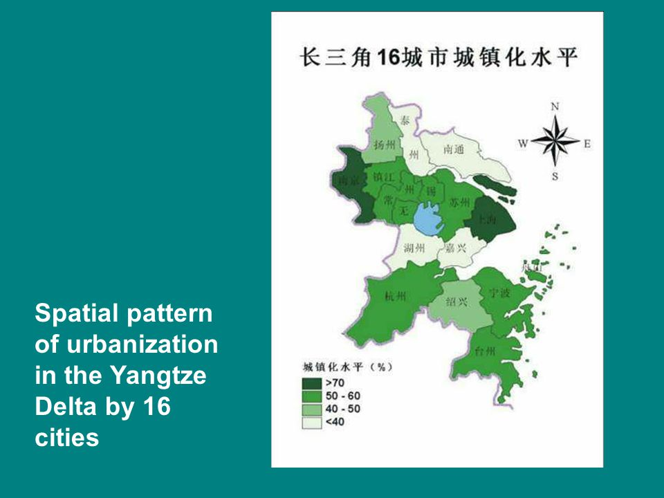 Spatial pattern of urbanization in the Yangtze Delta by 16 cities