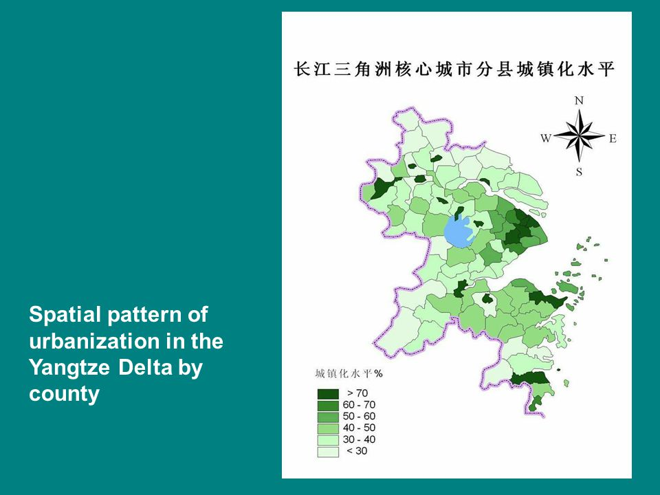 Spatial pattern of urbanization in the Yangtze Delta by county