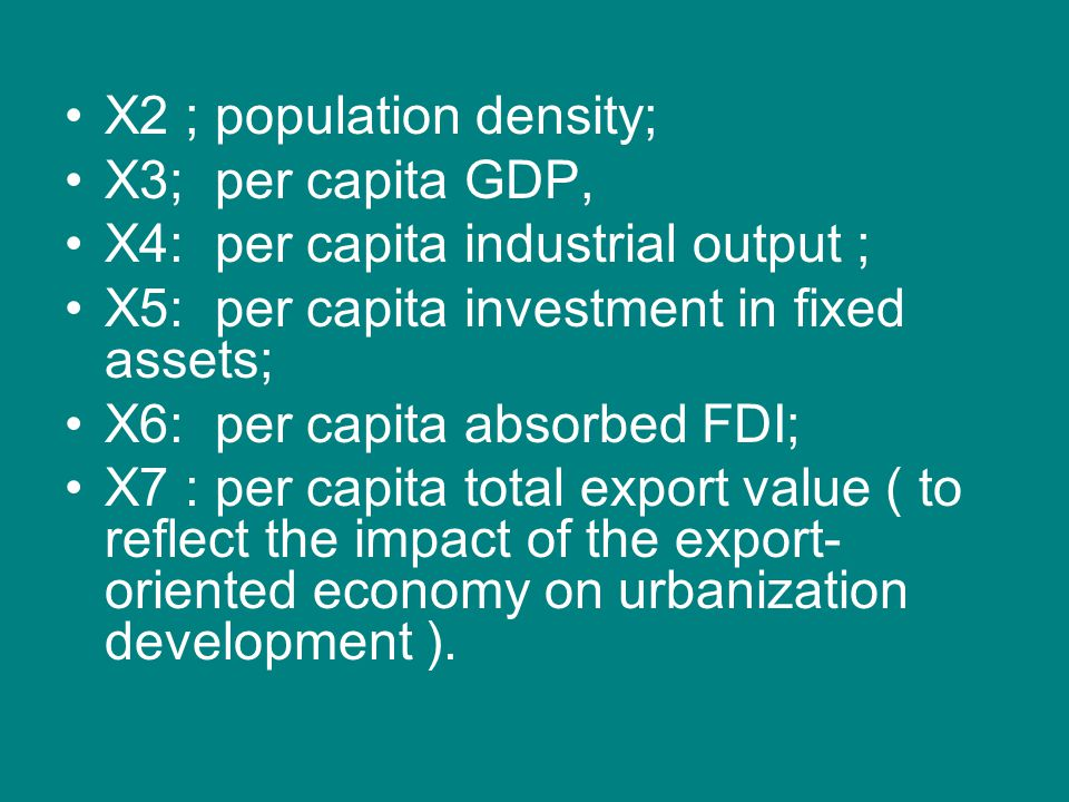 X2 ; population density;