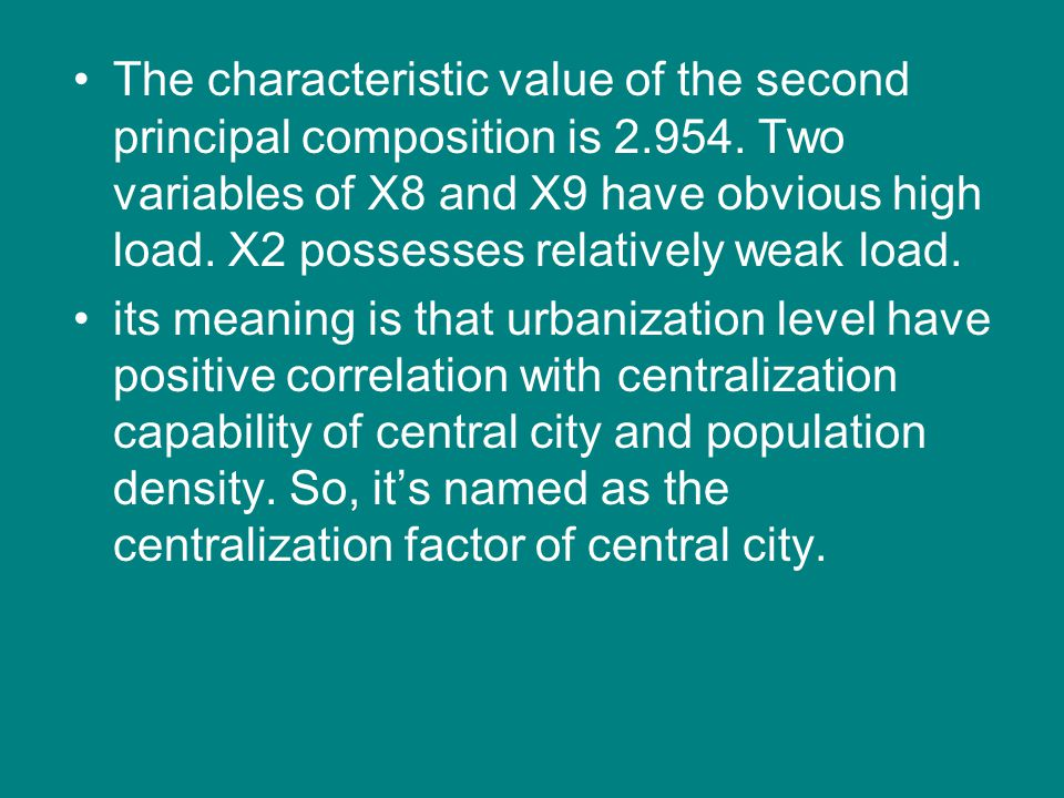 The characteristic value of the second principal composition is 2. 954