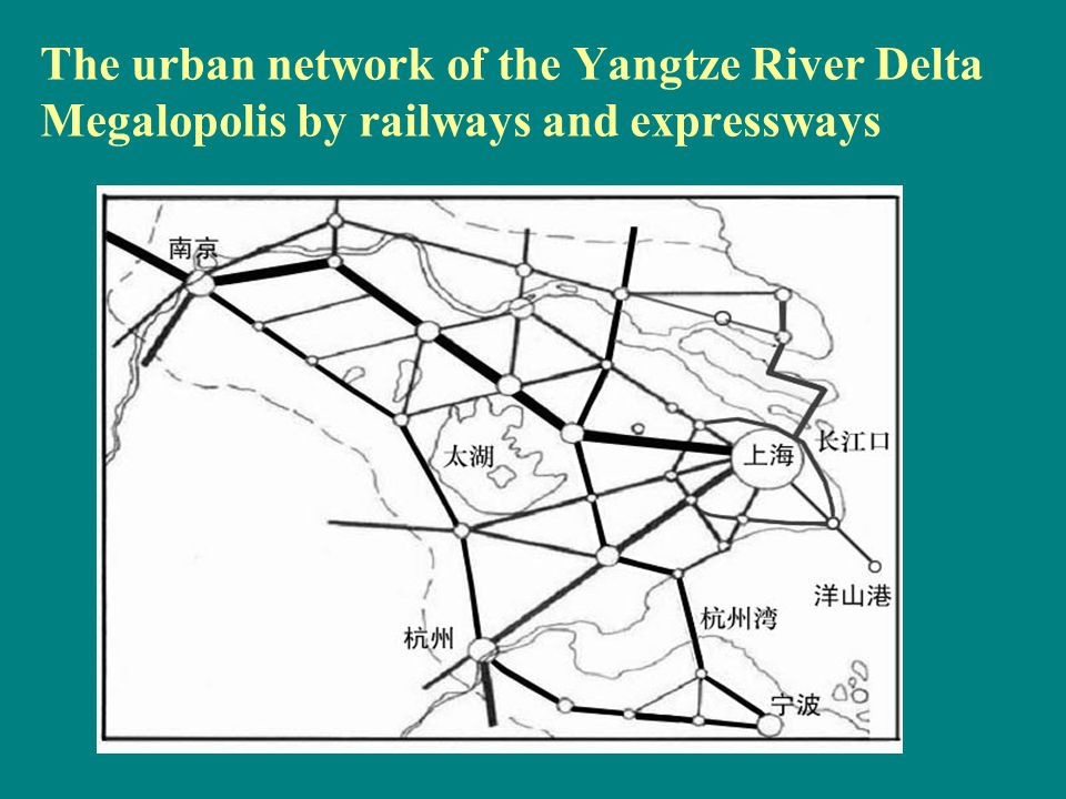 The urban network of the Yangtze River Delta Megalopolis by railways and expressways