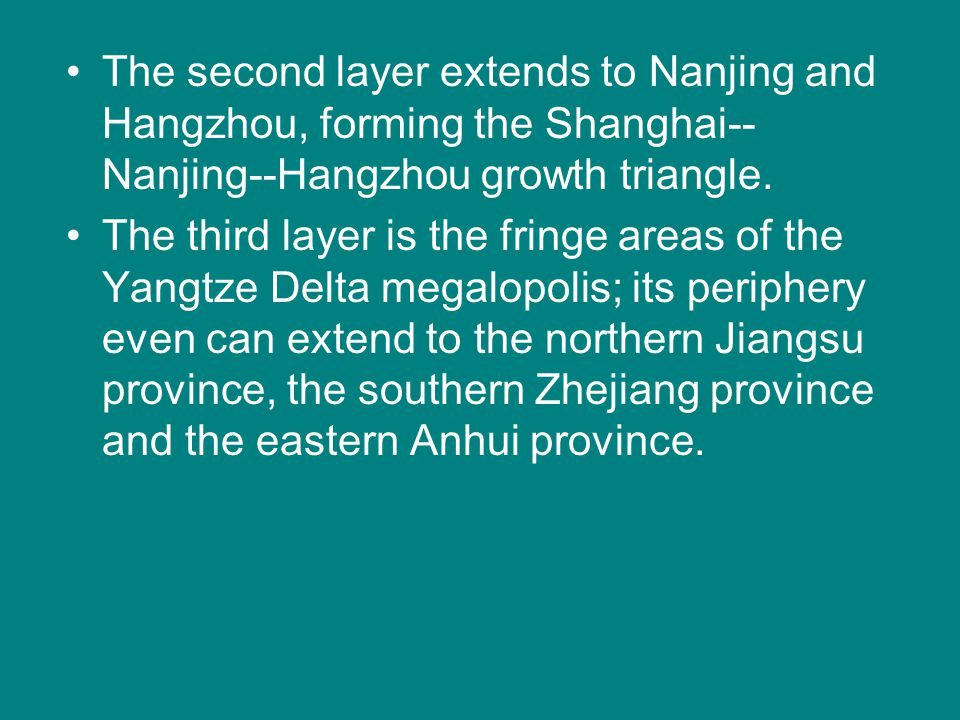 The second layer extends to Nanjing and Hangzhou, forming the Shanghai--Nanjing--Hangzhou growth triangle.