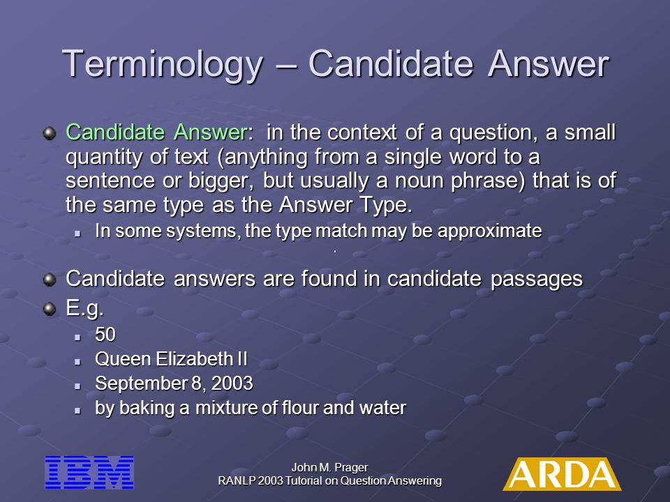Terminology – Candidate Answer