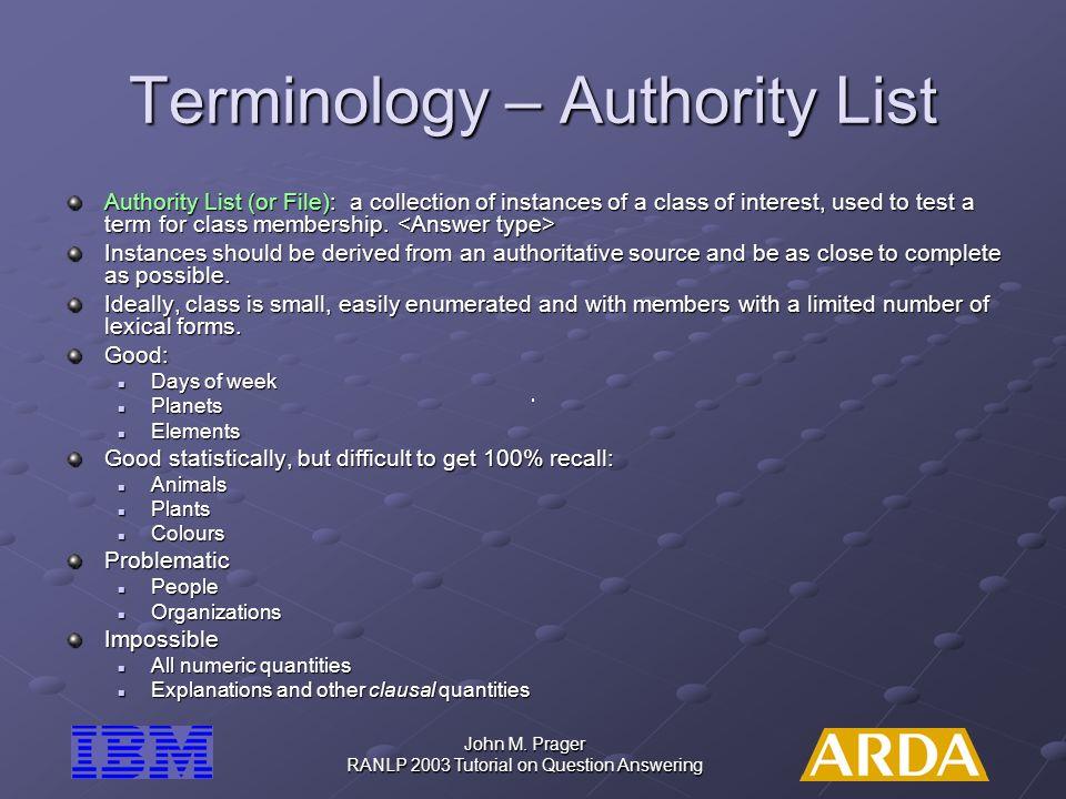 Terminology – Authority List