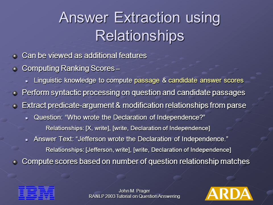 Answer Extraction using Relationships