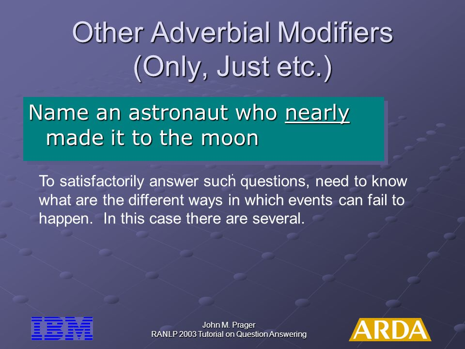 Other Adverbial Modifiers (Only, Just etc.)