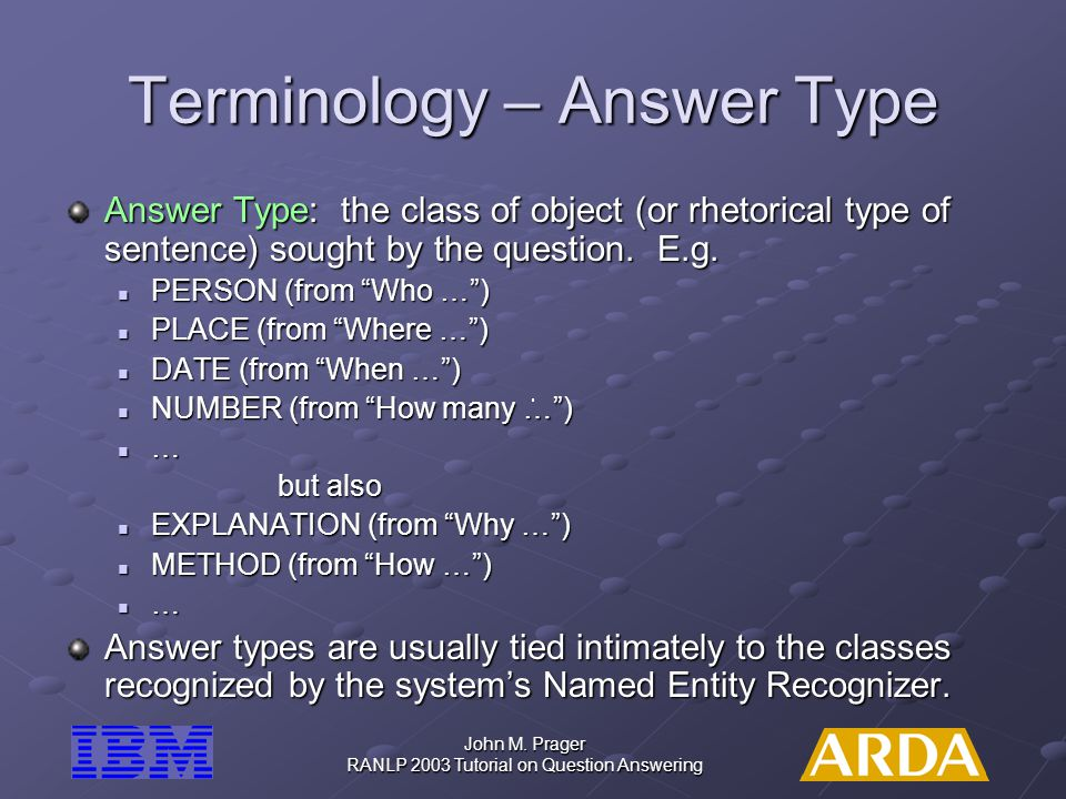 Terminology – Answer Type