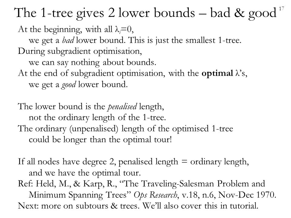 The 1-tree gives 2 lower bounds – bad & good