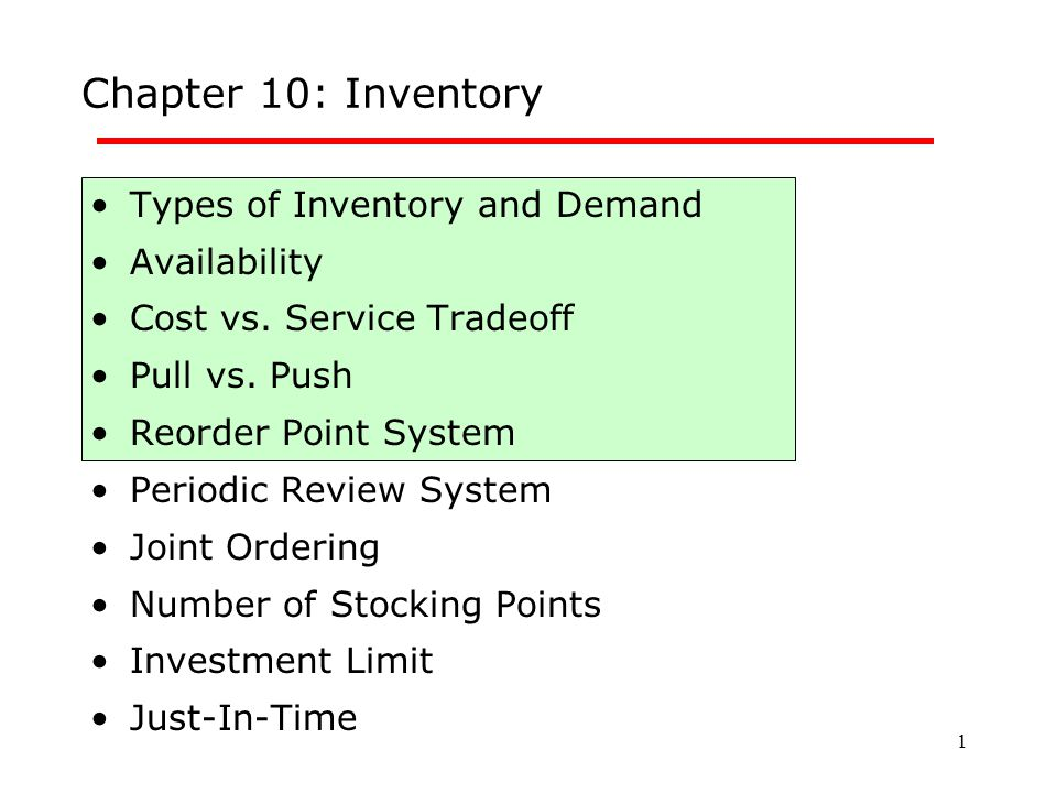 Chapter 10: Inventory Types of Inventory and Demand Availability