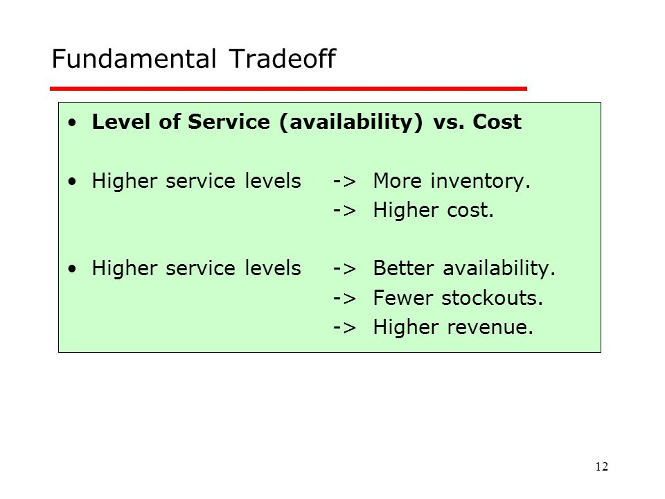 Fundamental Tradeoff Level of Service (availability) vs. Cost