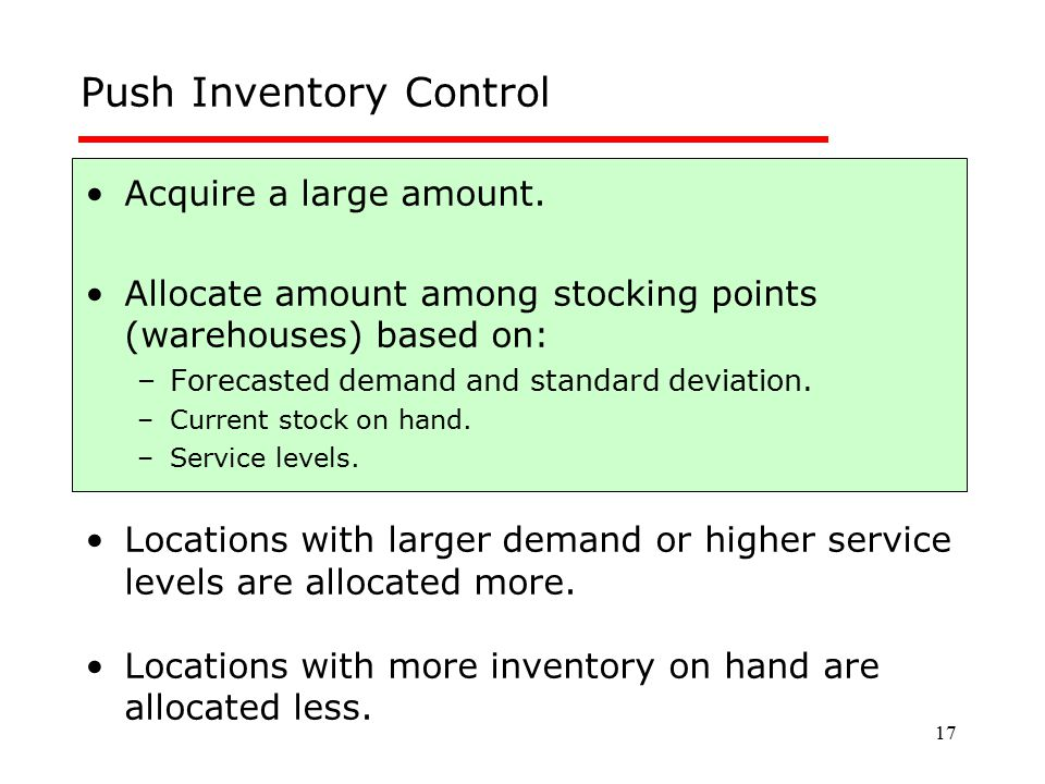 Push Inventory Control