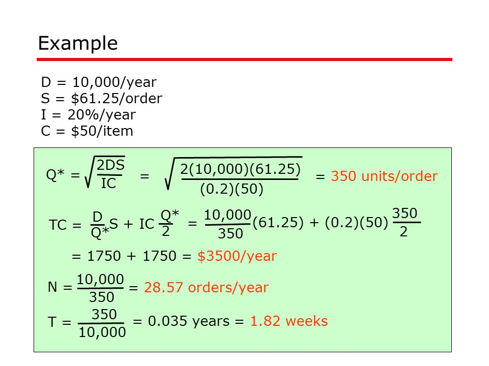 Example D = 10,000/year S = $61.25/order I = 20%/year C = $50/item 2DS