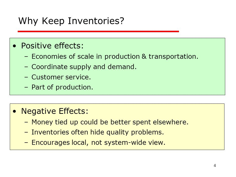 Why Keep Inventories Positive effects: Negative Effects: