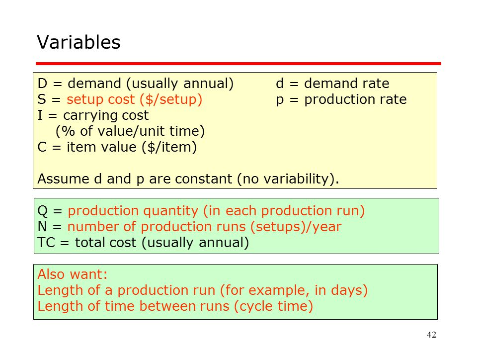 Variables D = demand (usually annual) d = demand rate